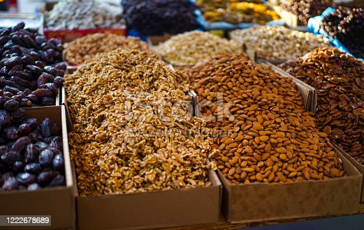 Dry Fruits and Nuts sold at a Market in Israel