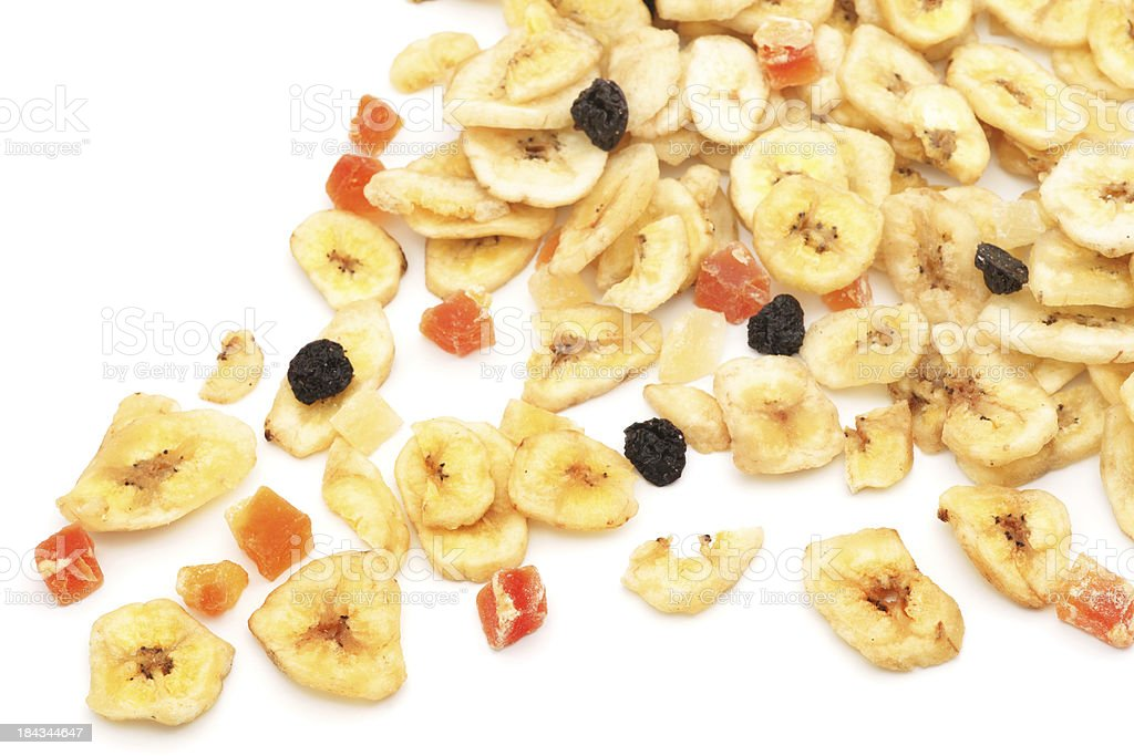 Dry fruits over white background stock photo