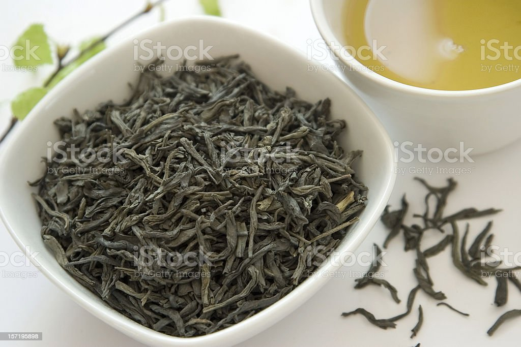 Dry green tea leaves royalty-free stock photo
