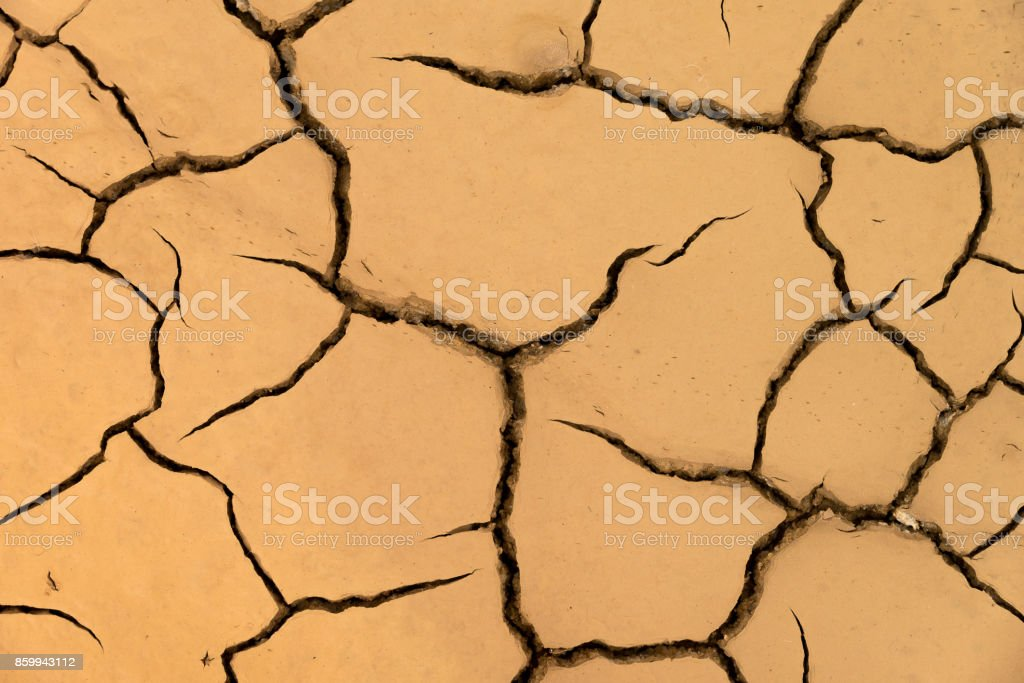 Dry ground cracked by the effects of natural drought.