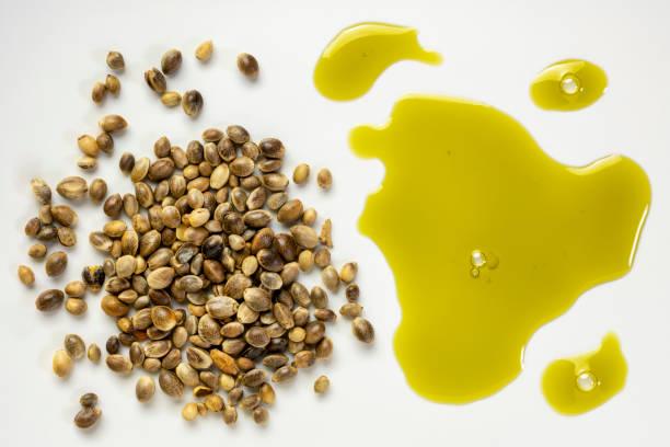 dry hemp seeds and oil stock photo