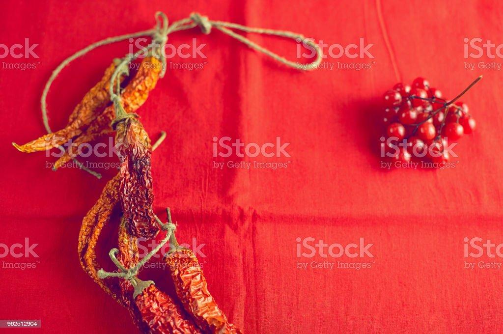 Secar pimentas malagueta e bagas viburnum em fundo de tela vermelho brilhante - Foto de stock de Alimentação Saudável royalty-free
