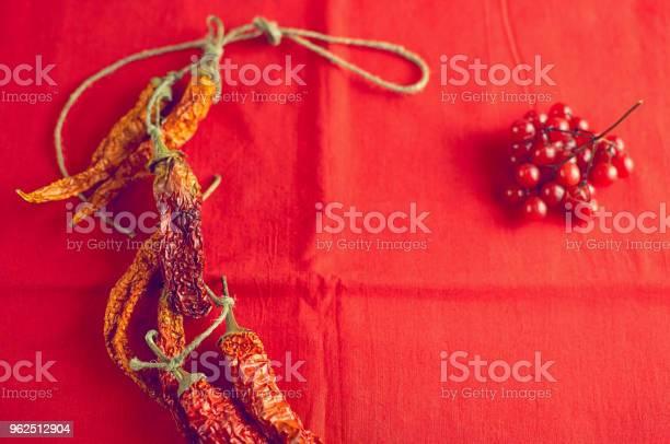 Foto de Secar Pimentas Malagueta E Bagas Viburnum Em Fundo De Tela Vermelho Brilhante e mais fotos de stock de Alimentação Saudável