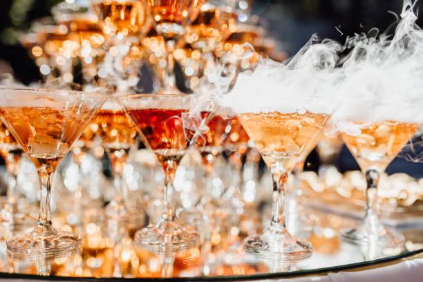 Dry Ice Champagne Glasses Pyramid Decoration stock photo