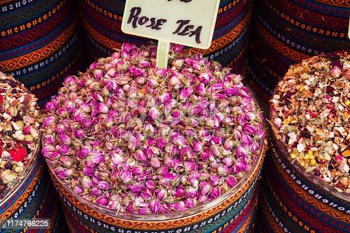 Dry karkade rose tea leaves in basket on the street market Istanbul