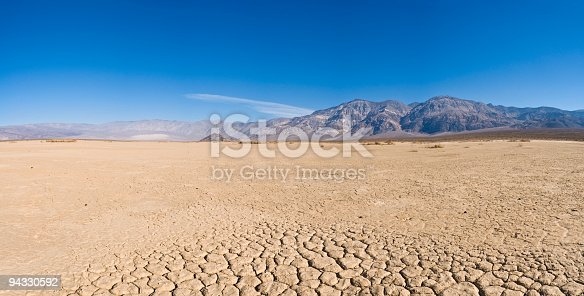 Salt flats in Badwater Basin in Death Valley national park , California during sunset with majestic mountains.