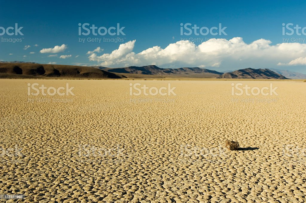 Dry Lake Bed with Rock & Shadow stock photo