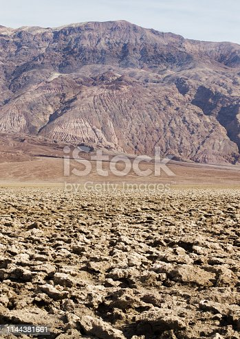 Barren land with mountain in background, California, USA