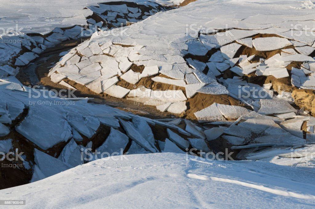 Dry Lake With Ice Broken stock photo