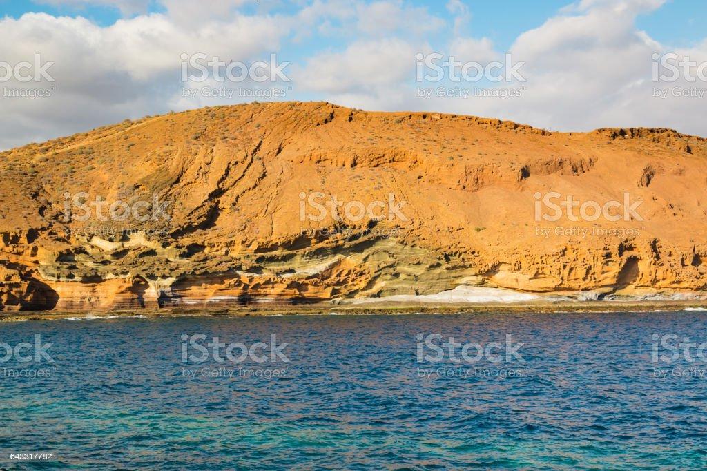 Dry Lava Coast Beach in the Atlantic Ocean on Tenerife stock photo