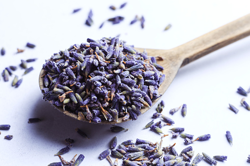 Dry lavender flowers in a wooden scoop on a white background.