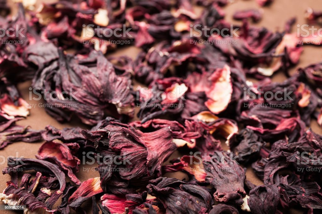 Dry leaves of hibiscus for herbal tea. stock photo