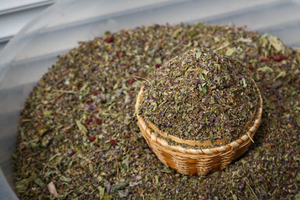 Dry milled herb as can be used as a tea or smoking mixture stock photo