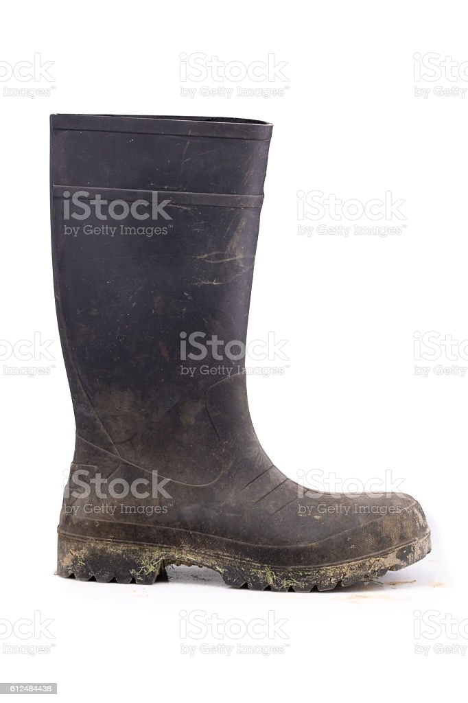 Dry muddy rubber boot side view isolated on white background – Foto