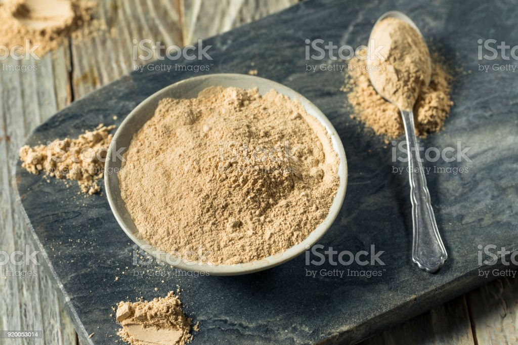 Dry Organic Maca Powder Superfood stock photo