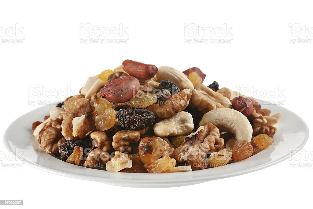 Dry raisin and nut royalty-free stock photo