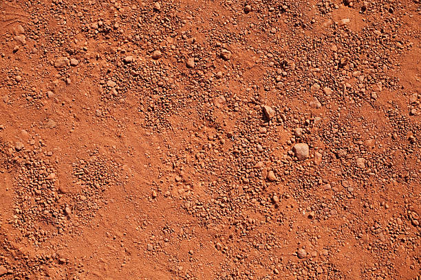 Dry red clay Texture of dry red clay with stones close-up clay stock pictures, royalty-free photos & images
