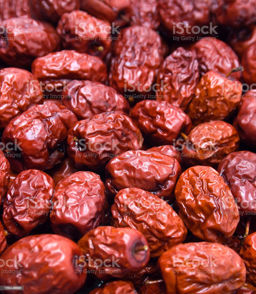 Dry red jujubes royalty-free stock photo