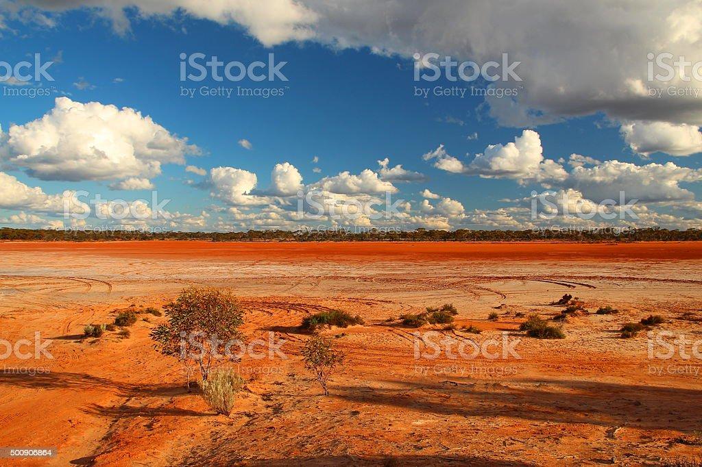 Dry red lake in Western Australia stock photo