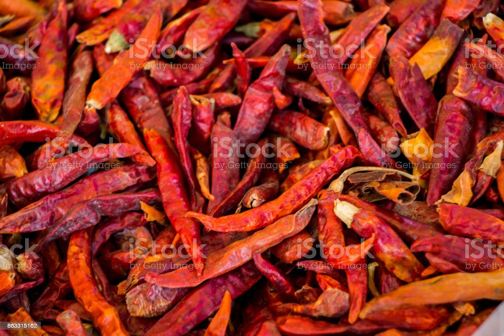 Dry red pepper found at the market stand stock photo