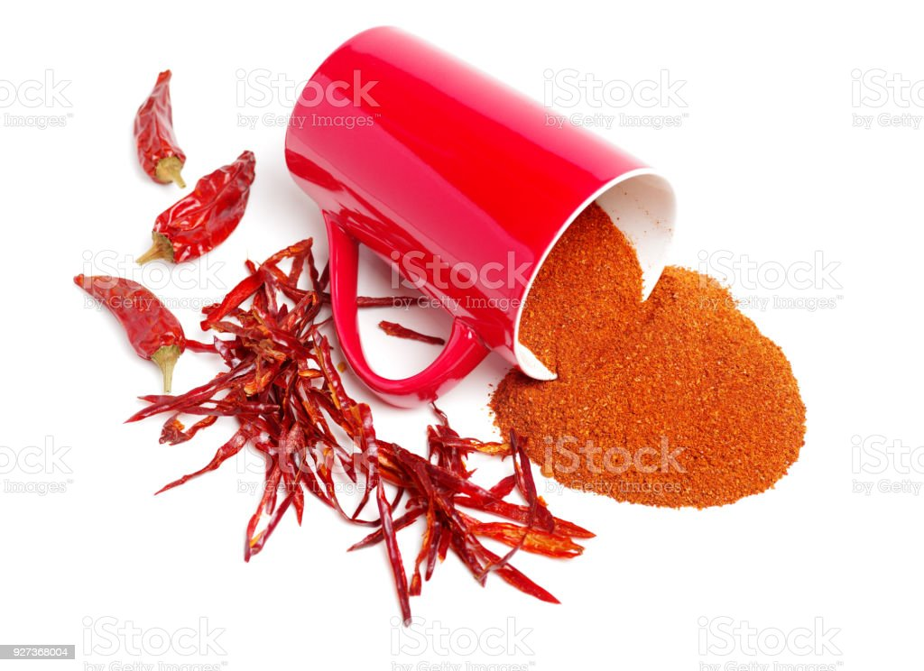 Dry red peppers and pepper powder isolated on white background - Royalty-free Bowl Stock Photo