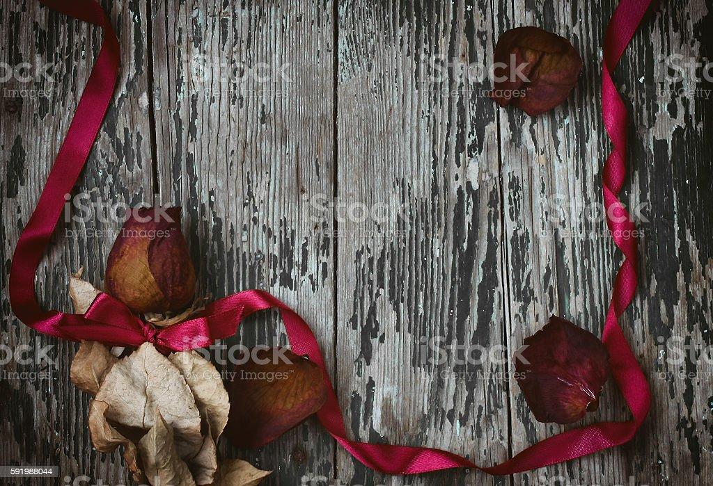 Dry red rose, silk ribbon stock photo