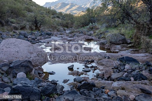 Almost dry river bed while hiking in Arizona