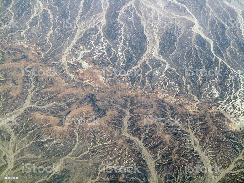 Dry river beds in the desert stock photo