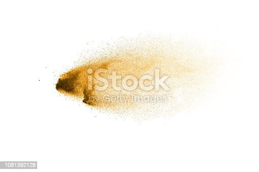 1131317595 istock photo Dry river sand explosion. Golden colored sand splash against white background. 1081392128
