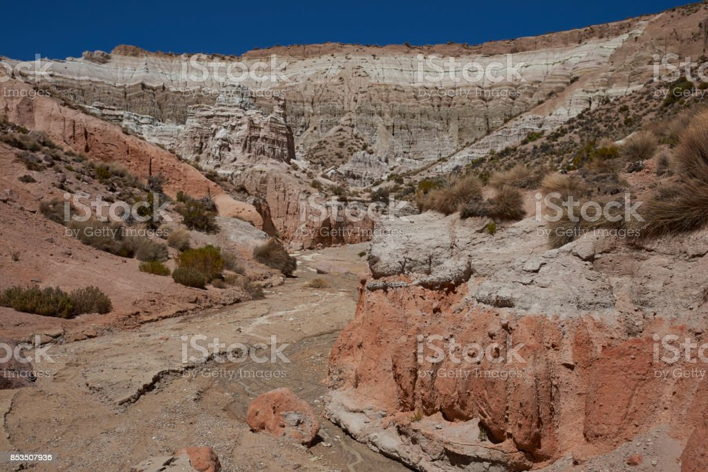 Dry river valley on the Altiplano stock photo