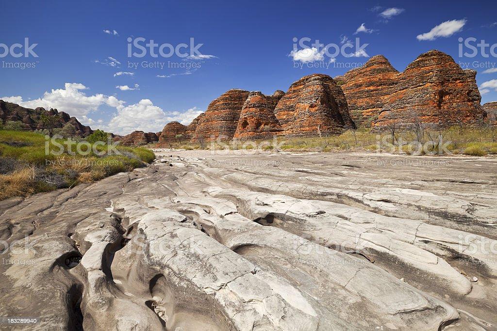 Dry riverbed in Purnululu National Park, Western Australia stock photo
