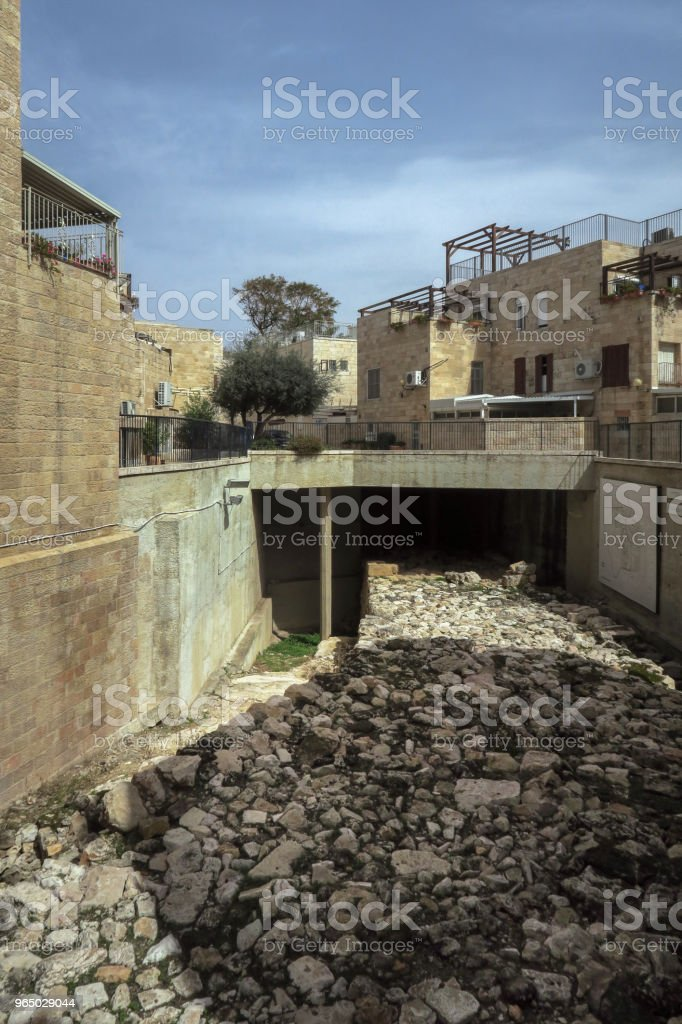 dry riverbed in the old city of Jerusalem,israel royalty-free stock photo