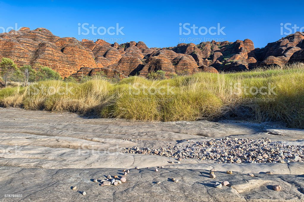 Dry riverbed of Piccaninny Creek, Bungle Bungles National Park stock photo