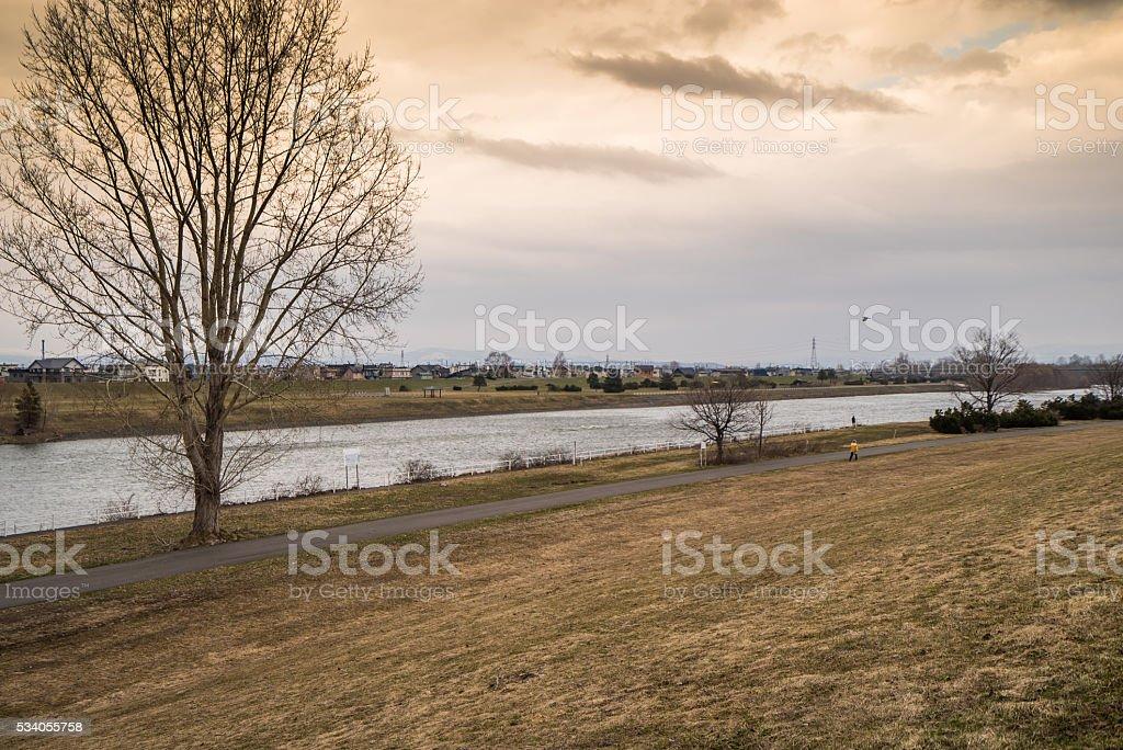 Dry riverbed of the Ishikari River stock photo