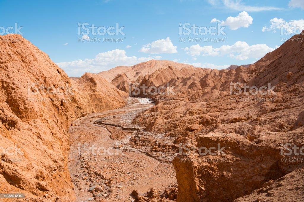 Dry riverbed - Valle de Marte - Atacama desert - volcanic landscape