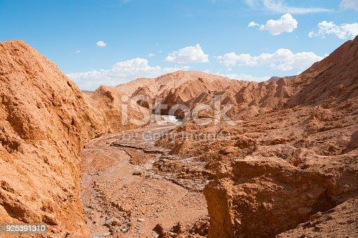 Dry riverbed - Valle de Marte (Mars Valley ) - Atacama desert - volcanic landscape