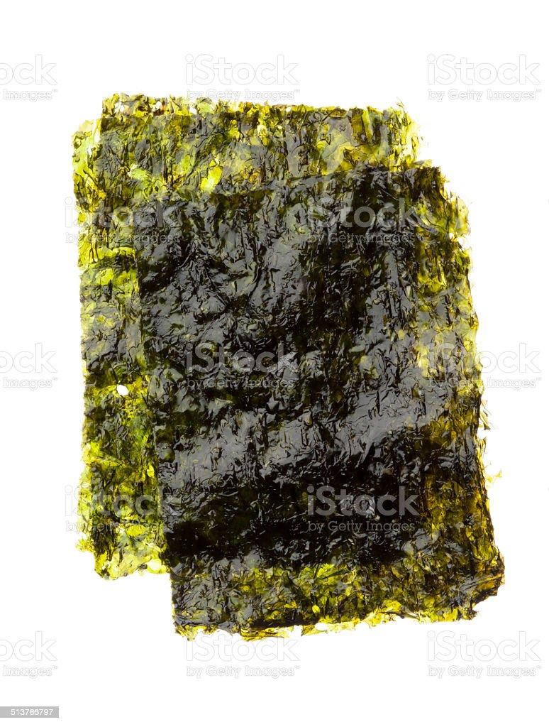 Dry roasted seaweed isolated on white stock photo