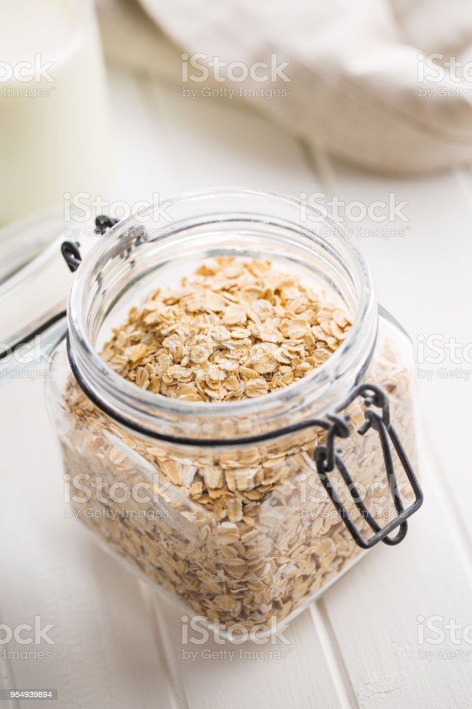 Dry rolled oatmeal stock photo