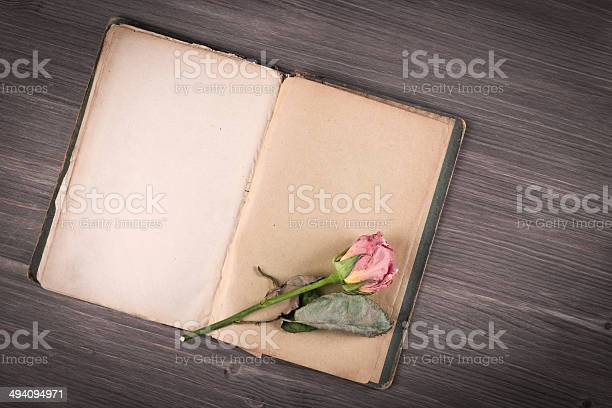 Dry rose and old book on wooden background picture id494094971?b=1&k=6&m=494094971&s=612x612&h=85d61pyxghedta6uvcrywzqmc1pnjmh8wnpw6ioelz4=
