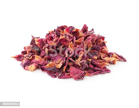 Heap of rose petals for herbal tea isolated on white background