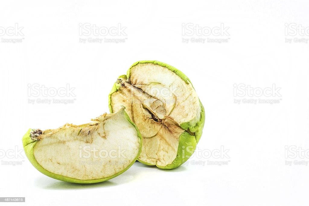 Dry rot green apples stock photo