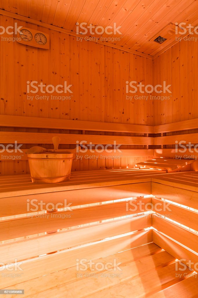 Dry sauna with the wooden structure Lizenzfreies stock-foto