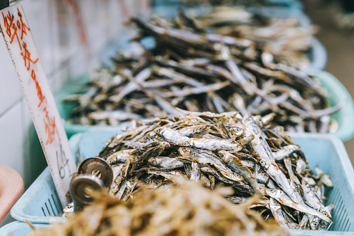 Dry silver fishes at Hong Kong