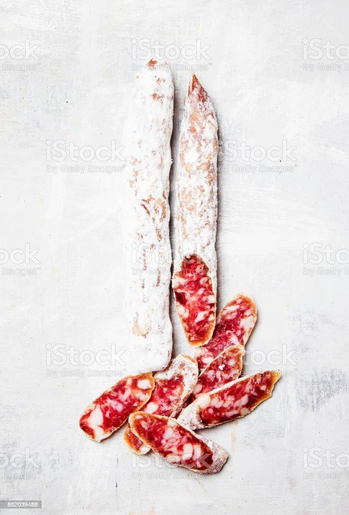 Dry smoked sausages stock photo