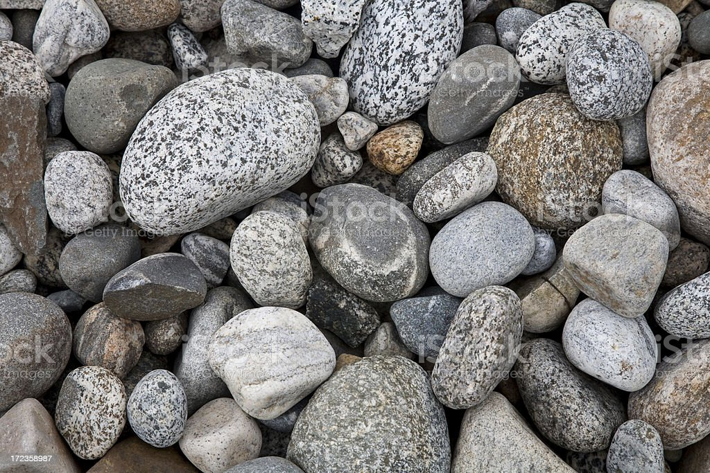 Dry Smooth Pebbles and Rocks in Stream Bed stock photo