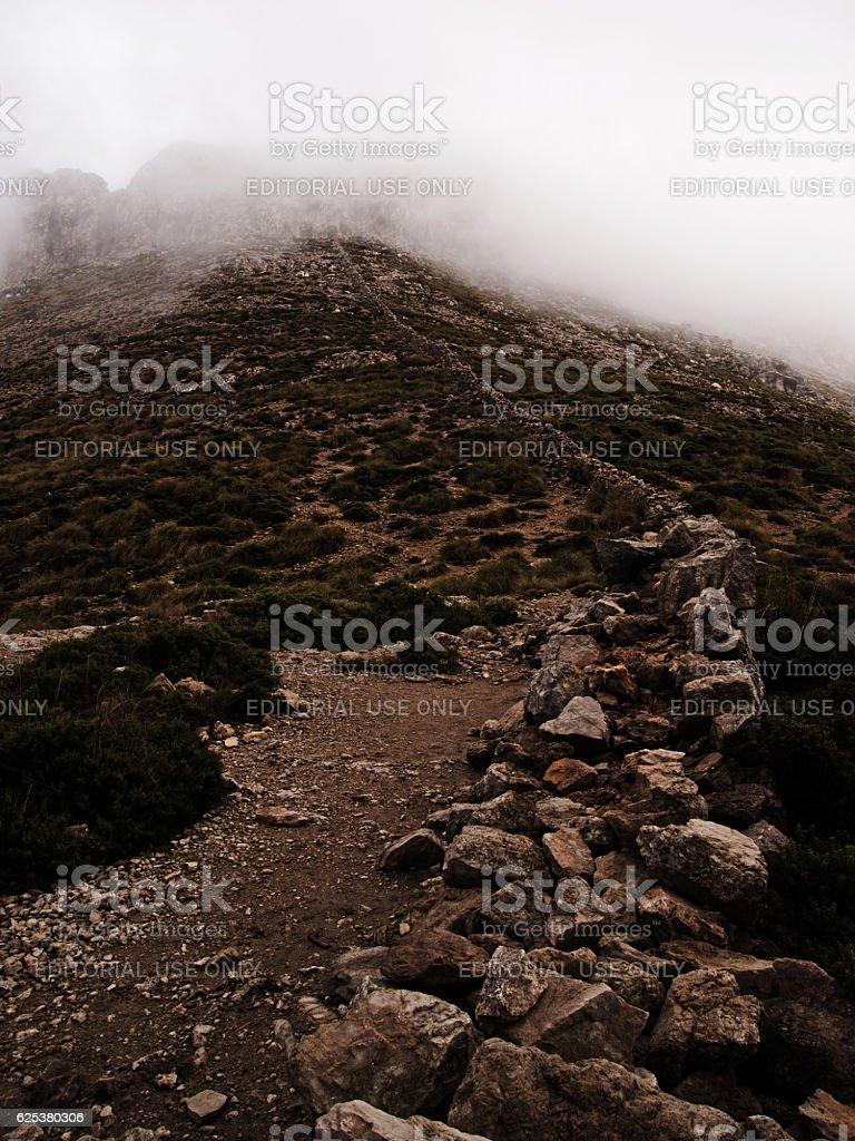 Dry stone wall at mount Massanella on balearic island Majorca stock photo