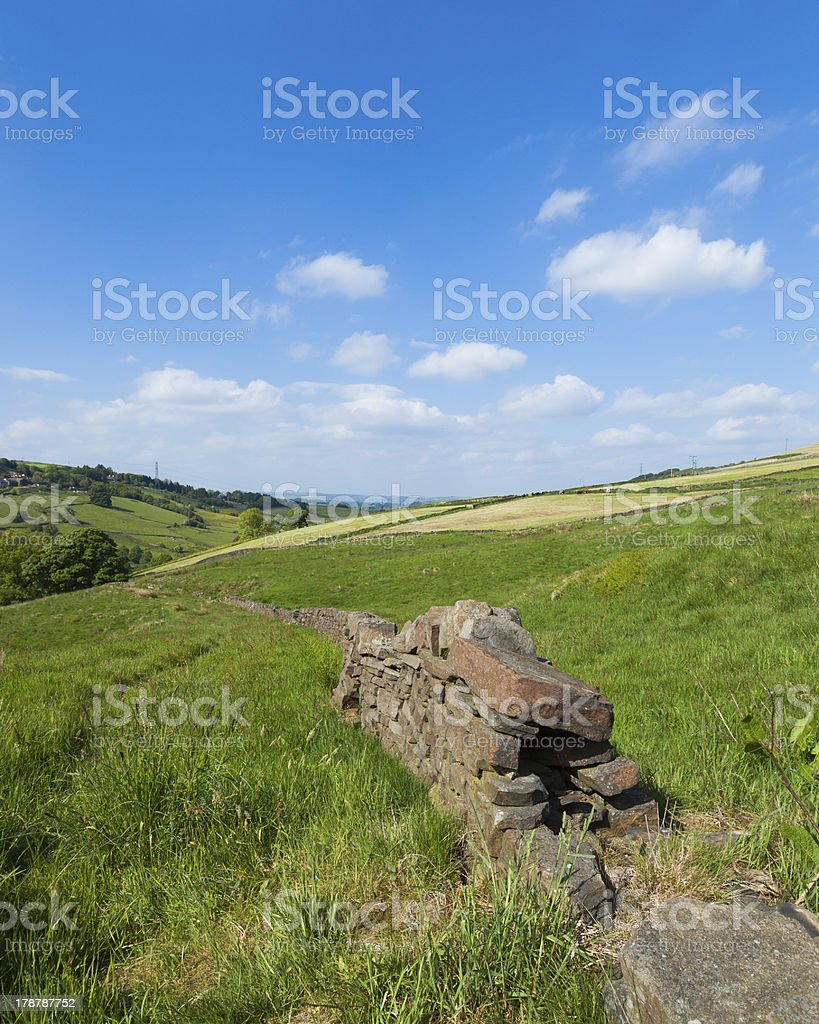 Dry stone wall in rural farmland,West Yorkshire landscape royalty-free stock photo