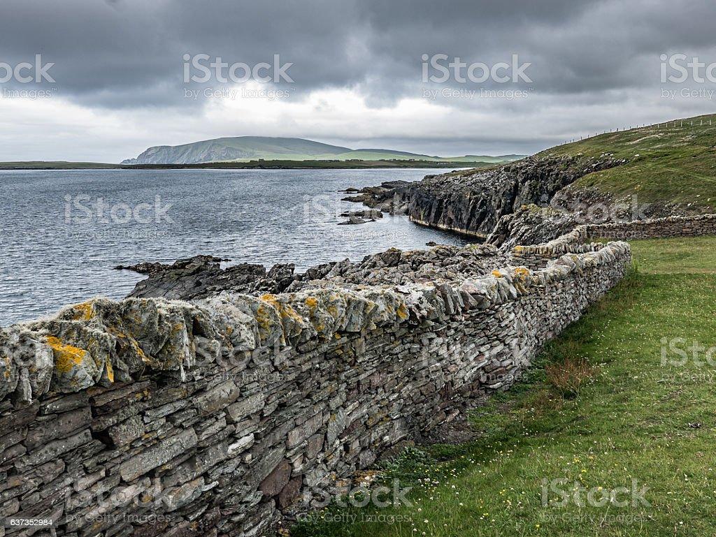 Dry Stone Wall, Sumburgh Head, Shetland stock photo