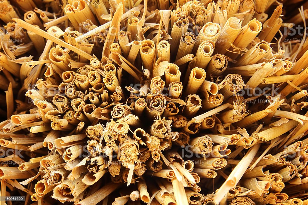 Dry straw macro shot. Background or Texture stock photo