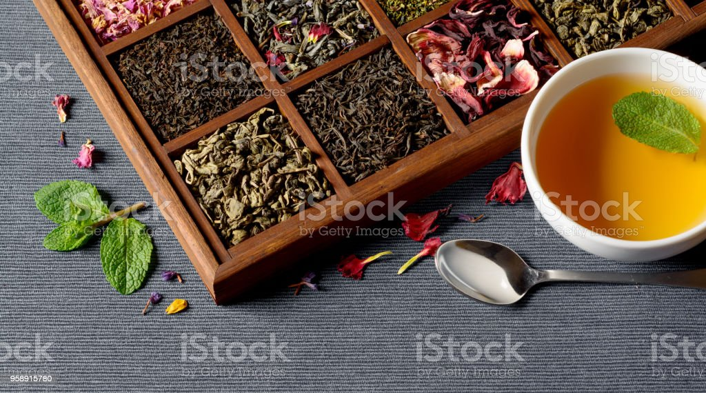 Dry Tea Assortment In Wooden Box Stock Photo Download Image Now